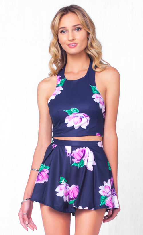Indie XO Afternoon Delight Navy Blue Purple Green Floral Sleeveless X Back Halter Crop Top Two Piece Short Romper - Just Ours!