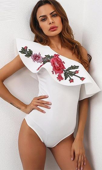Roses In Bloom Floral Embroidery Pattern One Shoulder Ruffle Bodysuit Top - 2 Colors Available