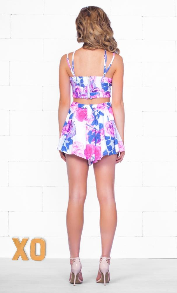 Indie XO Floral Frenzy White Blue Pink Purple Floral Cross Strap Halter V Neck Crop Top Pleated Short Two Piece Romper - Sold Out