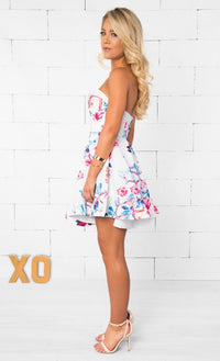Indie XO Vibrant Beauty White Blue Pink Purple Floral Strapless Sweetheart Neck Skater Circle A Line Flare Mini Dress - Just Ours - Sold out
