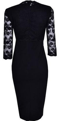Flower Lace 3/4 Sleeve Bodycon Plunging Neckline Pencil Skirt Midi Dress - Sold Out