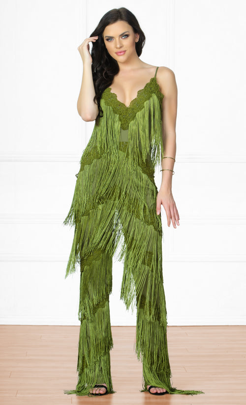 Indie XO Tinsel Town Green Sleeveless Spaghetti Strap Plunge V Neck Fringe Tiered Jumpsuit - Inspired by Rihanna