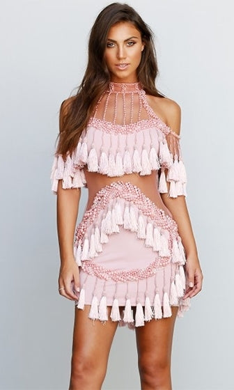 Fringe Diva Beaded Pink Sheer Mesh Tassel Fringed Cut Out Mock Neck Bodycon  Mini Dress - 9f2676de5c