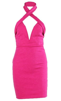 So Sweet Fuchsia Pink Sleeveless Wrap Neck Halter Plunge V Neck Backless Bodycon Mini Dress - Sold Out