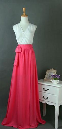 Fuchsia Pink Long Chiffon Split Front Tie Waist Bow Maxi Skirt - Sold Out
