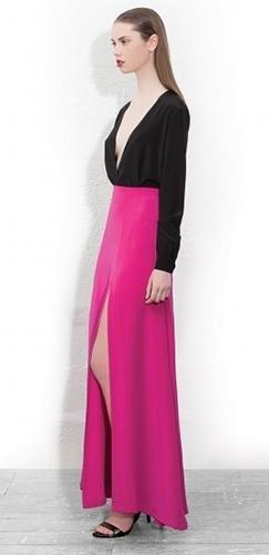 Fuchsia Pink High Waist Thigh Slit Maxi Skirt - Sold Out