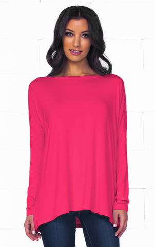 Piko 1988 Bamboo Strawberry Pink Short Dolman Sleeve V Neck Piko Bamboo Basic Loose Tunic Tee Top