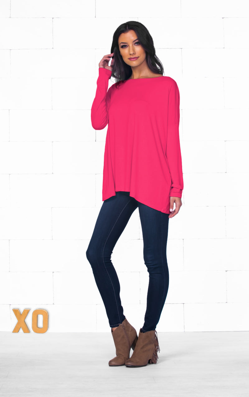 Piko 1988 Fuchsia Pink Bamboo Piko Comfy Boat Neck Long Sleeve Slouchy Basic Knit Tee Shirt Top