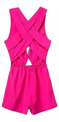 Fuchsia Pink Sleeveless V Neck Cut Out Crisscross Back Short Romper - Sold Out