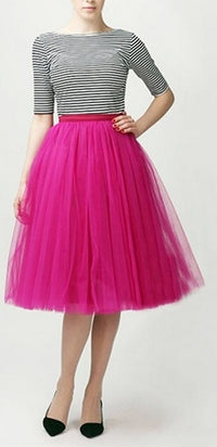 Fuchsia Pink Tulle Pleated Ballerina A Line Full Midi Skirt - Sold Out