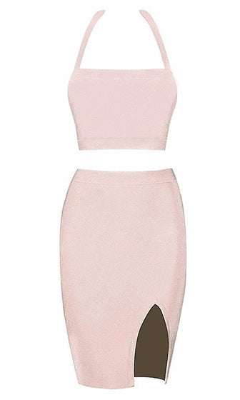 Break The Internet Beige Sleeveless Halter Crop Side Slit Two Piece Bandage Bodycon Midi Dress  - Sold Out