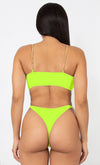 Fit Right In My Hands Neon Green Gold Chain Spaghetti Straps Cut Out Brazilian High Leg Monokini One Piece Swimsuit