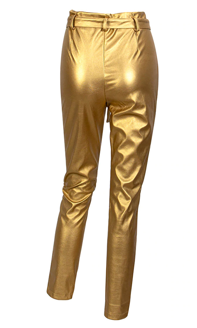 Live For Glam Metallic High Waist Pleat Belt Skinny Pants - 4 Colors Available