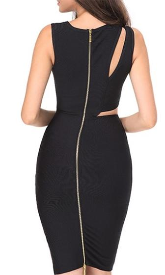 Love Game Cut Out Bandage Bustier Sleeveless Bodycon Midi Dress