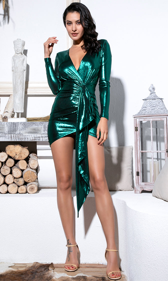 Disco Dreams Metallic Long Sleeve Plunge V Neck Twist Sash Mini Dress - 4 Colors Available