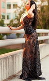Cause A Scandal Black Sequin Sheer Glitter Geometric Spaghetti Strap Deep V Neck Double Split Maxi Dress - Sold Out