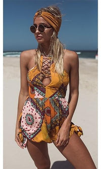 Lost In Paradise Yellow Pink Blue White Geometric Sleeveless Halter V Neck Lace Up Back Short One Piece Romper Playsuit - Sold Out