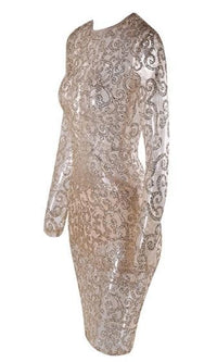 Happy Hour Gold Sheer Mesh Swirl Long Sleeve Crew Neck Bodycon Midi Dress - Sold Out
