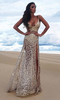 Light My Fire Gold Sheer Glitter Spaghetti Strap Deep V Neck Double Split Maxi Dress - Sold Out