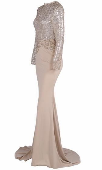 Golden Goddess Nude Gold Long Sleeve Sheer Glitter Mock Neck Cut Out Back Maxi Dress Evening Gown - Sold Out
