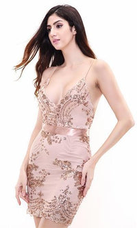 Capture The Light Beige Rose Gold Sequin Lace Spaghetti Strap V Neck Bodycon Mini Dress - Sold Out