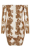 Own The Night Nude Khaki Gold Leaf Floral Sequin Long Sleeve Sheer Mesh Off The Shoulder Bodycon Bandage Mini Dress - Sold Out