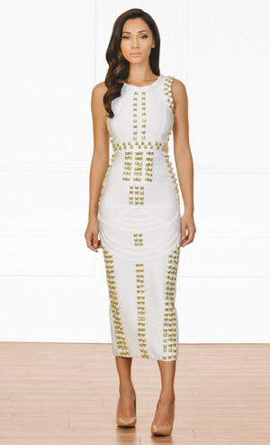 Golden Child White Gold Stud Sleeveless Scoop Neck Bandage Maxi Dress - Inspired by Kim Kardashian