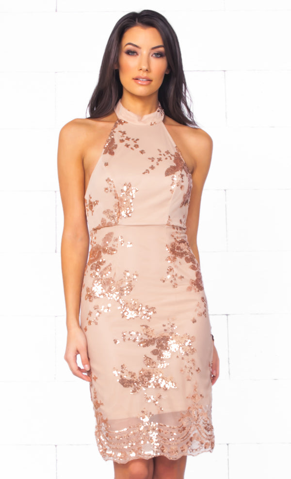 Indie XO Pucker Up Beige Gold Sequin Floral Sleeveless Mock Neck Backless Halter Bodycon Midi Dress - Just Ours!