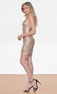 Indie XO Let's Party Gold Geometric Sequin Sleeveless Scoop Neck Halter Bodycon Mini Dress - Just Ours! - Sold Out