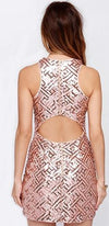 Mysterious Ways Gold Beige Brown Geometric Sequin Sleeveless Scoop Neck Cut Out Bodycon Mini Dress - Sold Out