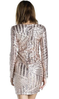Always On Top Gold Geometric Sequin Long Sleeve V Neck Bodycon Mini Dress - Sold Out