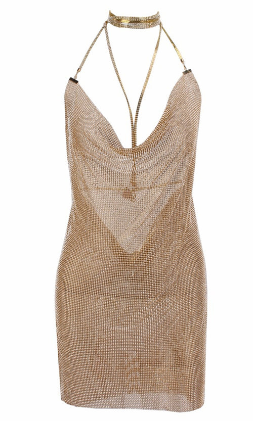 Steal the Scene Gold Metallic Rhinestone Mesh Mock Neck Cut Out Straps Backless V Neck Mini Dress