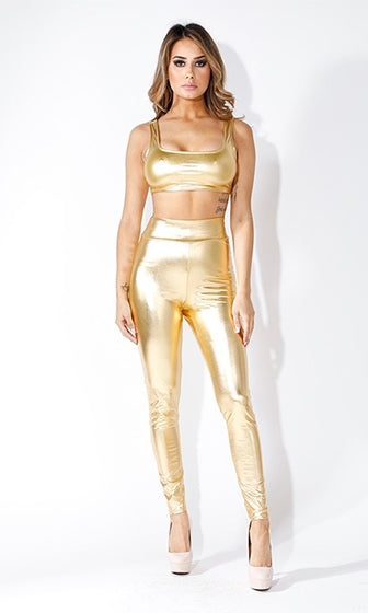 Gilty Pleasure Gold Metallic High Waist Stretch Leggings - Sold Out