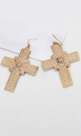 Always Faithful Gold Plated Cross Earrings