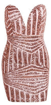 Gold Champagne Sequin Strapless Plunge V Neck Geometric Sexy Bodycon Mini Dress - Sold out