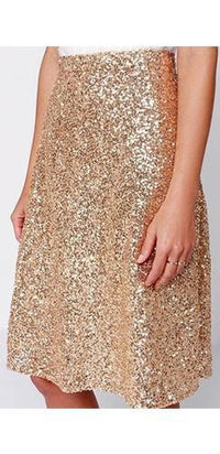 Gold Metallic Sequin Sparkle A Line Flare Knee Length Midi Skirt - Sold Out