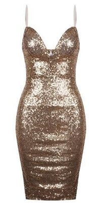 Gold Sequin Spaghetti Strap Plunge V Neck Bodycon Dress !!! - Sold Out
