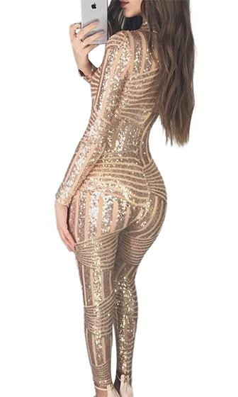 Stroke Of Genius Gold Geometric Sequin Long Sleeve Mock Neck Bodycon Jumpsuit Pattern