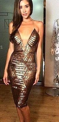 Take Back the Night Gold Bronze Backless Plunging V Neck Sequin Sexy Bodycon Midi Party Dress - Sold Out
