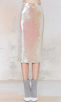 Modern Mermaid Gold Sequin Midi Skirt - Sold Out