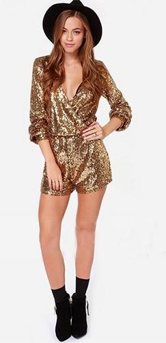 Gold Sequin Long Sleeve Cross Wrap V Neck Short Romper - Sold Out
