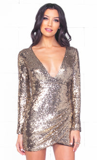 Indie XO Good As Gold Sequin Long Sleeve Cross Wrap V Neck Tulip Mini Dress - Just Ours! Sold Out