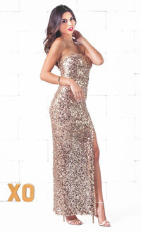 Indie XO Glimmer Girl Gold Strapless Sexy Slit Thigh Maxi Dress - Just Ours! - Sold Out