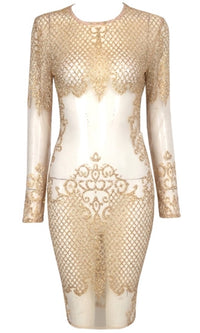 Take A Shot Gold Sequin Sheer Mesh Fishnet Lace Long Sleeve Scoop Neck Bodycon Midi Dress - Sold out