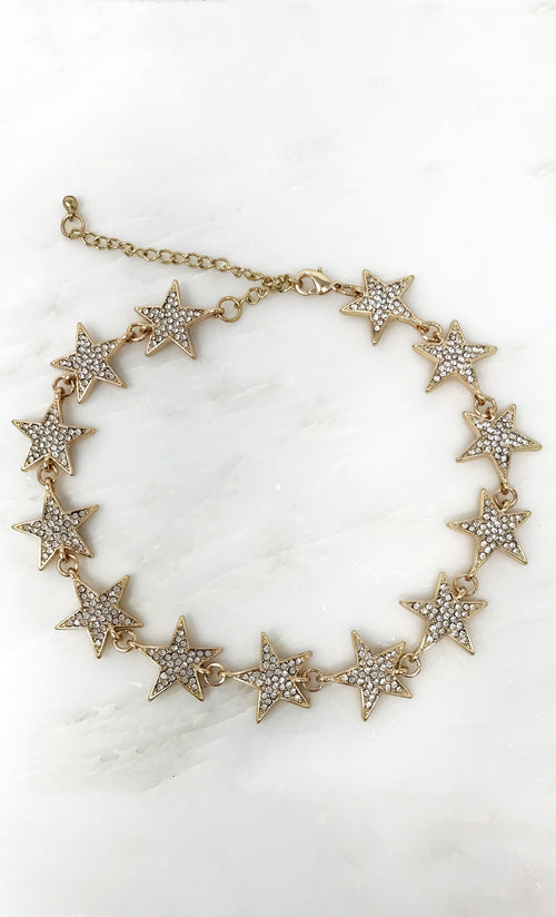 Star Power Crystal Bling Star Choker Necklace - Galaxy Gold