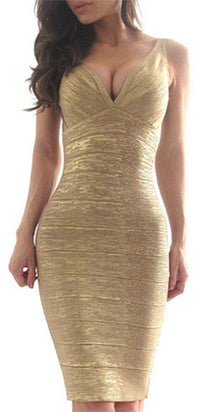 Rich Girl Gold Metallic Sleeveless V Neck Low Back Sexy Bandage Bodycon Mini Dress - Sold Out