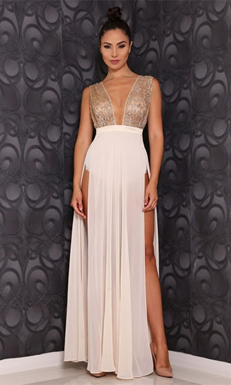 Fit For A Queen Gold White Glitter Sleeveless Plunge V Neck High Waisted Sheer Chiffon Double Split Maxi Dress - Sold Out