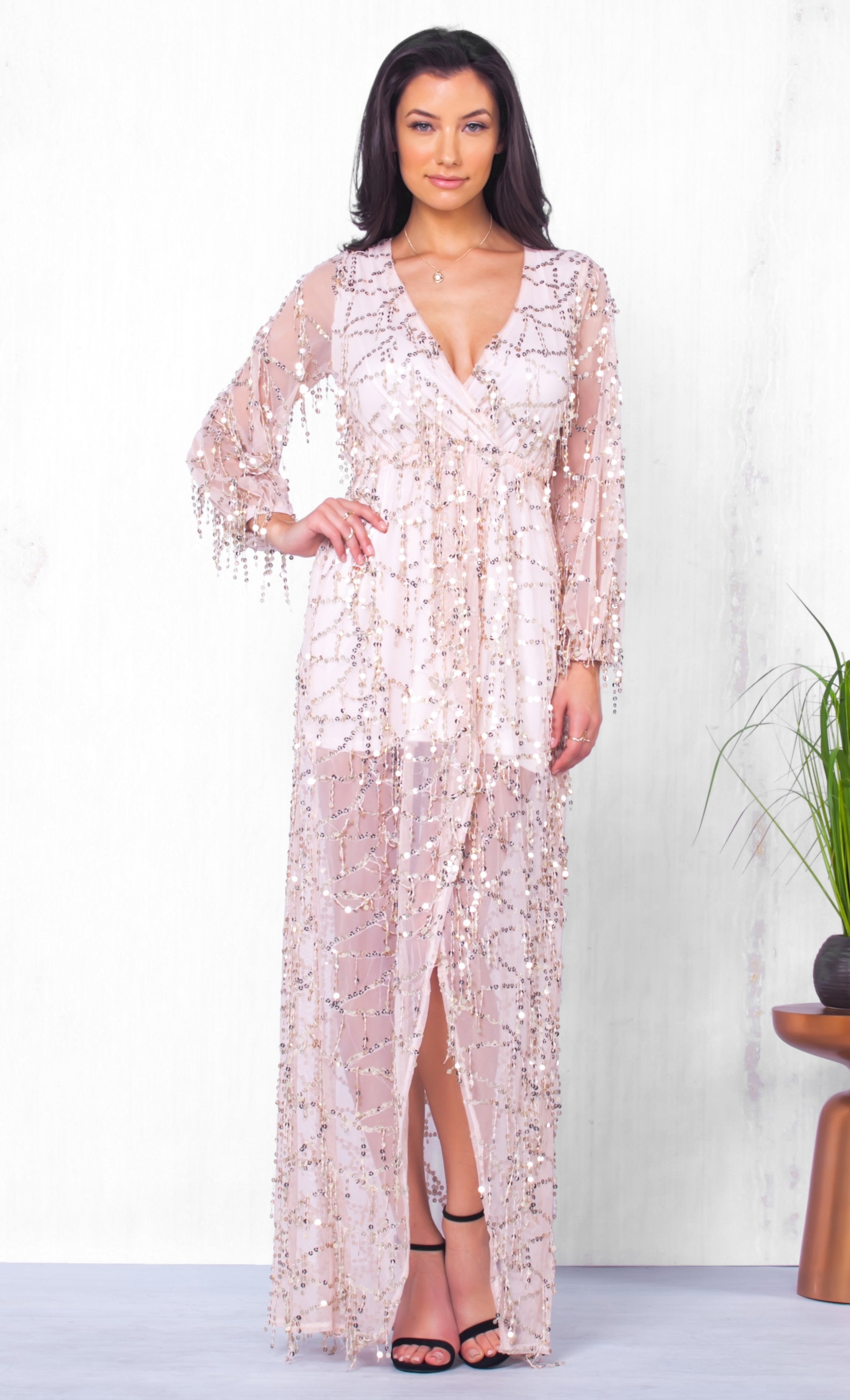 Indie XO Crown Jewels White Gold Sequin Long Sleeve Cross Wrap V Neck Fringe Slit Maxi Dress - Just Ours!
