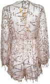 Dream Maker White Gold Sequin Fringe Long Sleeve Cross Wrap V Neck Romper  -  Sold Out