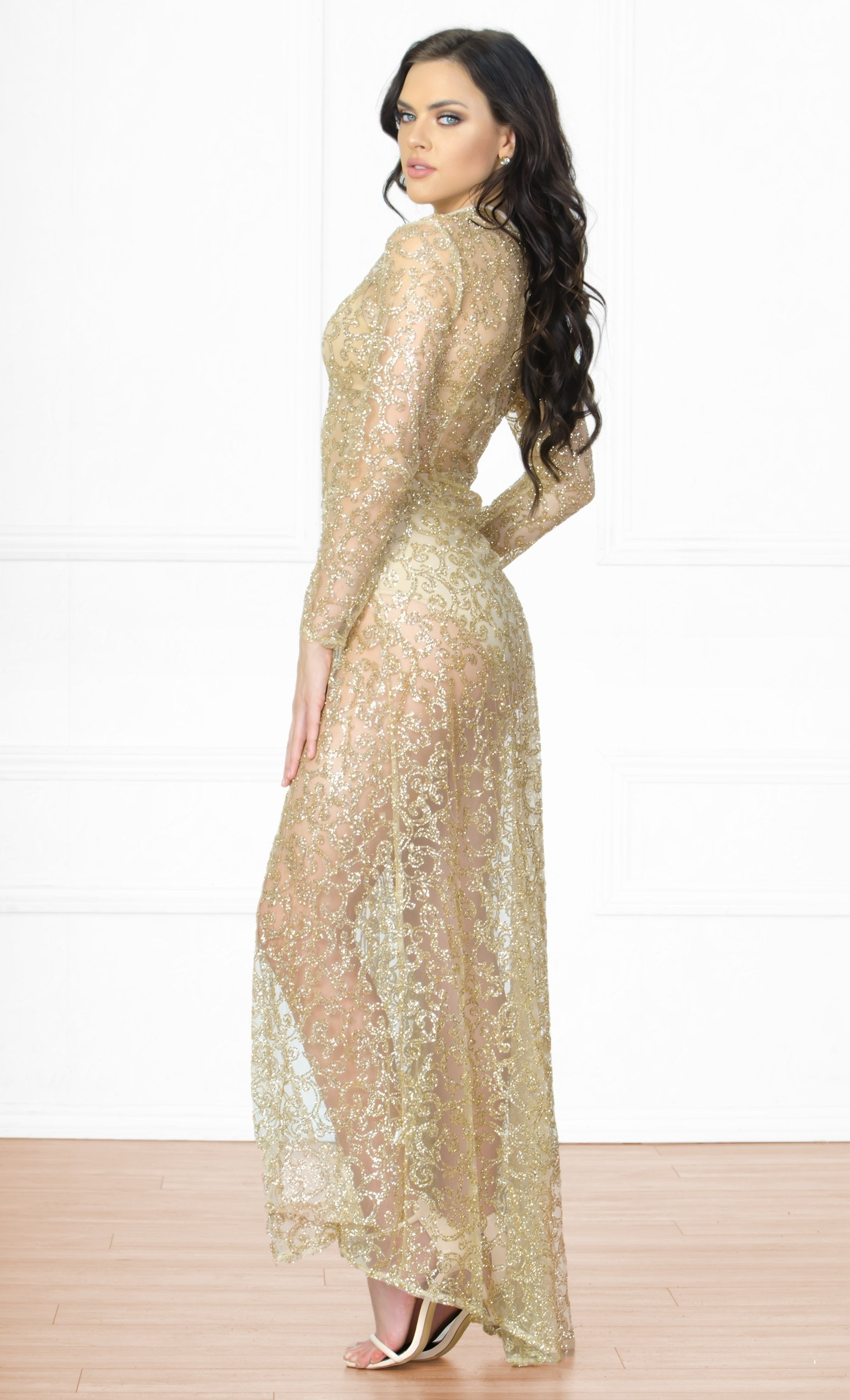 Indie XO Adoring Fan Gold Sequin Glitter Swirl Long Sleeve Mock Neck Double Slit Maxi Dress - Sold Out